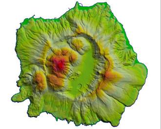 Darstellung der Insel im Rahmen des Geowarn-Projekts 2000, das von der EU gefördert wurde.