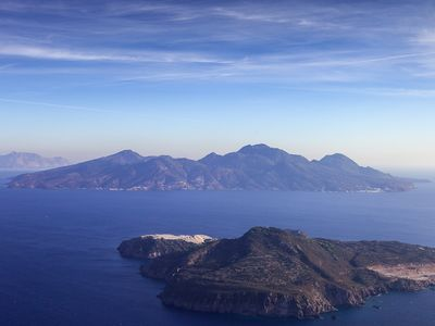 Aerial photograph of the islands Yali and Nisyros before landing on Cos island